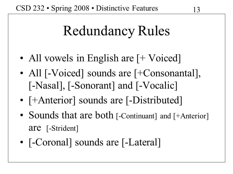 Redundancy Rules All vowels in English are [+ Voiced]